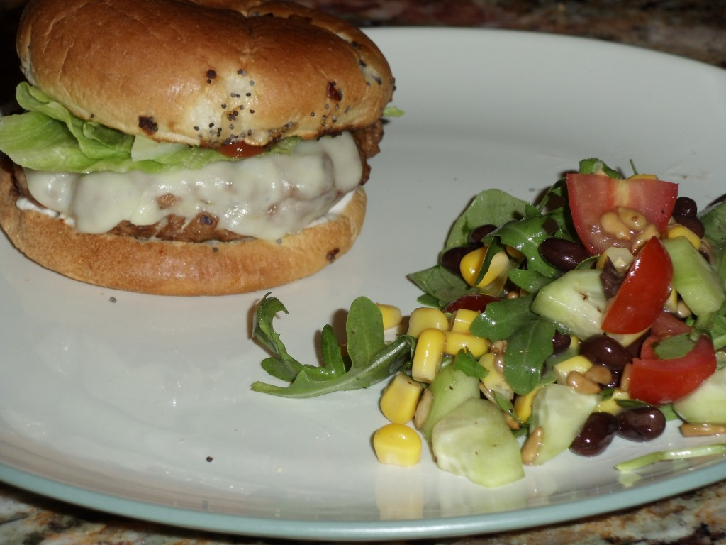 Grilled Turkey Burgers and Arugula Salad